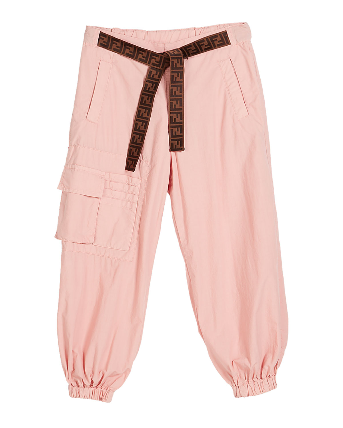 Fendi GIRL'S JOGGER PANTS W/ TIE LOGO BELT