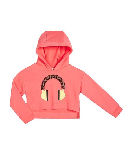 Fendi Girl's Hooded Sweatshirt w/ Logo Headphone Graphic, Size 4-6