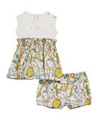 Versace Girl's Chain-Print Tee Dress w/ Matching Bloomers,