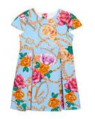 Versace Girl's Floral Print Cap Sleeve Dress, Size