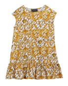 Versace Girl's Borocco-Print Short-Sleeve Dress, Size 12-36