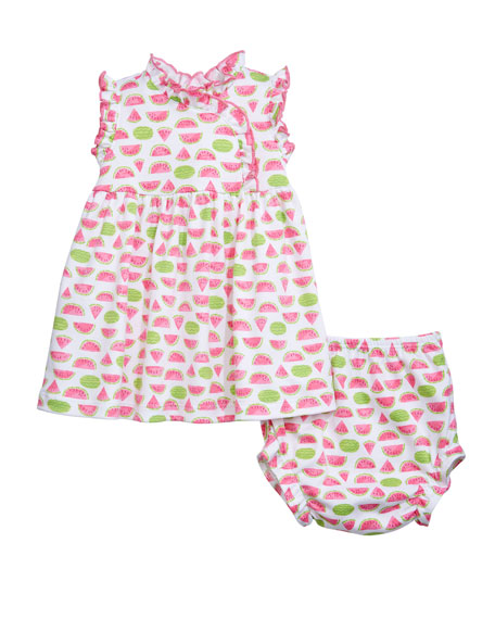 Kissy Kissy Whimsical Watermelons Dress w/ Matching Bloomers, Size 6-24 Months
