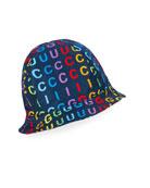 Gucci Kid's Rainbow Vertical Logo Bucket Hat