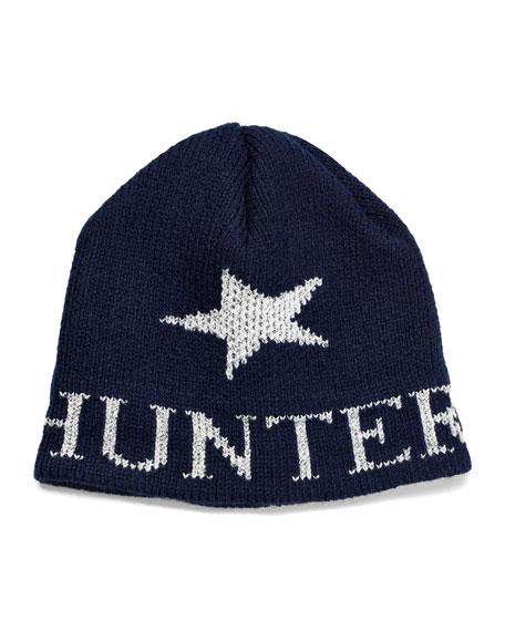 Butterscotch Blankees Kid's Single Star Metallic Beanie Hat, Personalized