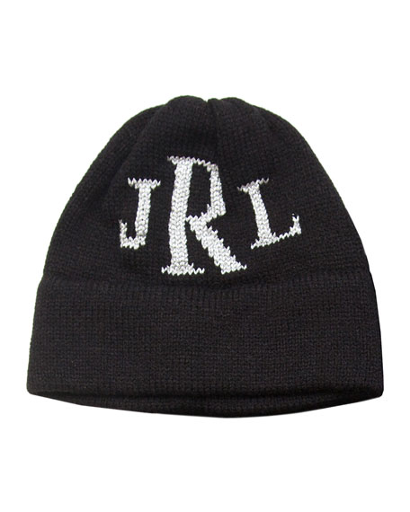 Butterscotch Blankees Kid's Metallic Classic Monogram Beanie Hat, Personalized