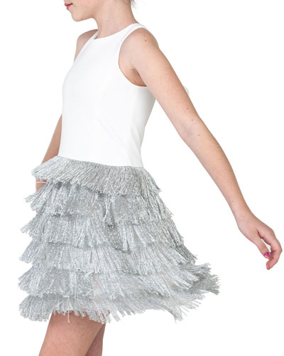 Girl's Jessie Stretch Knit Dress w/ Metallic Fringe Skirt, Size 7-16