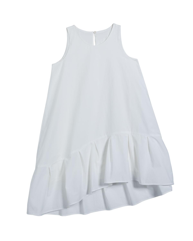 Brunello Cucinelli GIRL'S SLEEVELESS RUFFLE DRESS W/ MONILI DETAIL