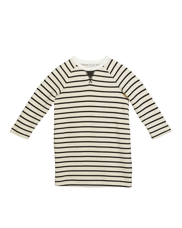Brunello Cucinelli GIRL'S FELPA STRIPE LONG-SLEEVE COTTON DRESS