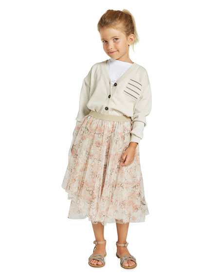 Brunello Cucinelli Girl's Floral Printed Tulle Skirt, Size 4-6