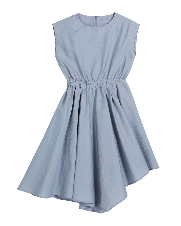 Brunello Cucinelli GIRL'S CINCHED-WAIST ASYMMETRICAL POPLIN DRESS