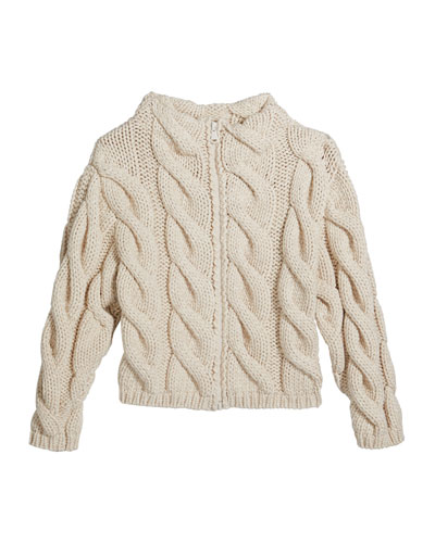 Girl's Zip-Front Chunky Cable Knit Cardigan, Size 4-6