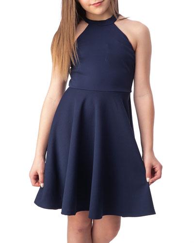 Girl's Halter Keyhole-Back Dress, Size 7-16