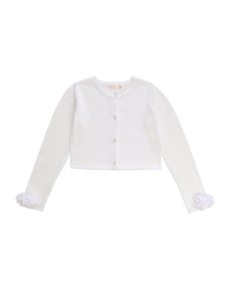 Billieblush Girl's Iridescent Cropped Cardigan w/ Flower Cuffs, Size 4-10