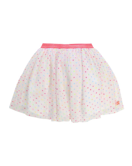 Billieblush Girl's Multicolor Dotted Tulle Skirt w/ Clip, Size 4-10