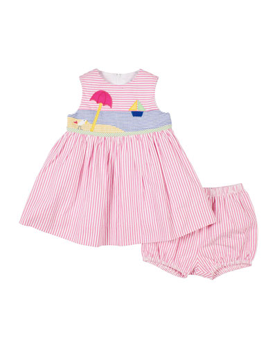 Neon Pink Stripe and Dot Knit Dress 24 months