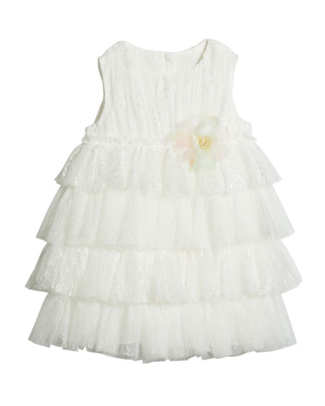Charabia Girl's Tiered Lace & Tulle Sleeveless Dress, Size 4-5