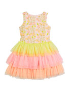 Charabia Girl's Multicolor Floral Lace Embroidered Tiered Tulle