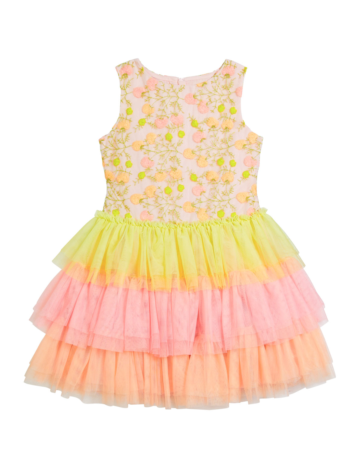Charabia Dresses GIRL'S MULTICOLOR FLORAL LACE EMBROIDERED TIERED TULLE DRESS