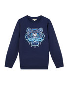 Kenzo Boy's Tiger Embroidered Cotton Sweatshirt, Size 8-12