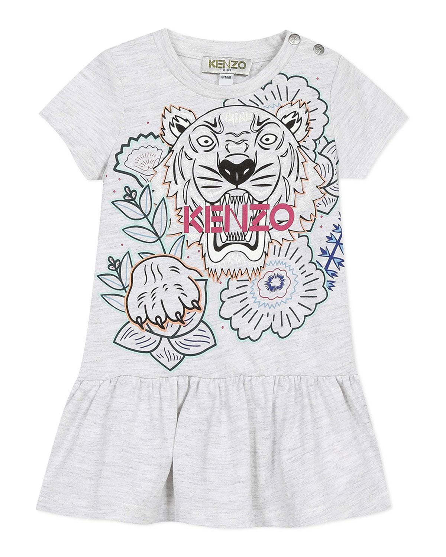 Kenzo Dresses GIRL'S TIGER PRINT SHORT-SLEEVE DRESS