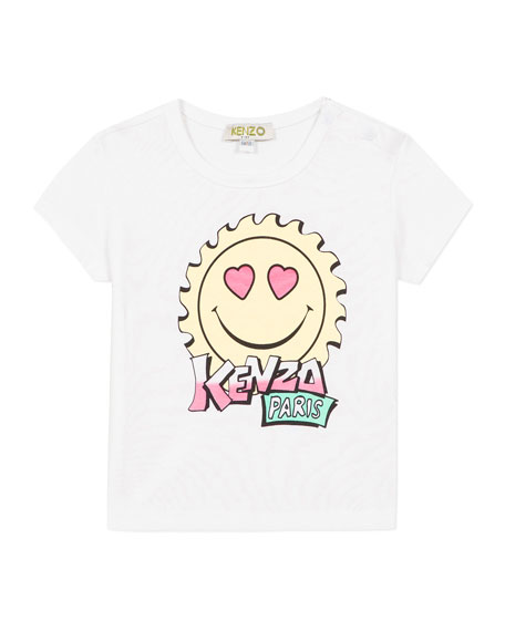 Kenzo Girl's Multi-Iconic Smiley Face Graphic Tee, Size 2-3