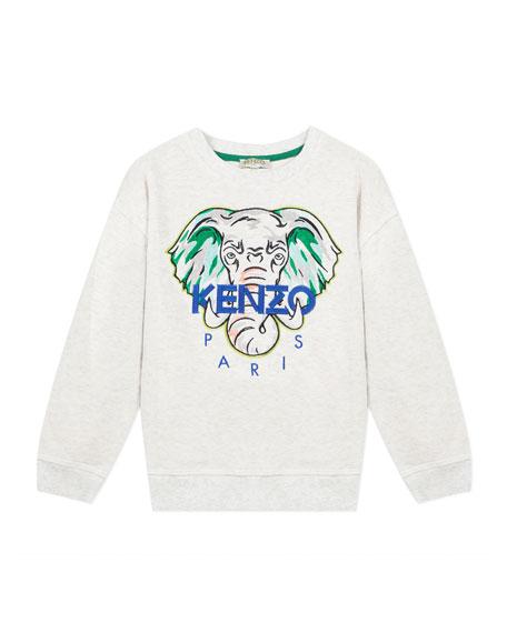 Kenzo Boy's Embroidered Elephant Logo Sweatshirt, Size 8-12