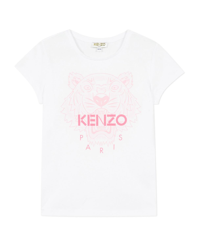 Kenzo Tops GIRL'S TIGER LOGO PRINTED T-SHIRT