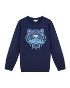 Kenzo Boy's Tiger Embroidered Cotton Sweatshirt, Size 2-6