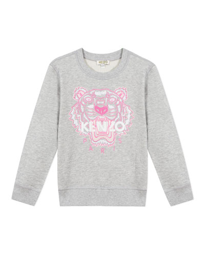 Girl's Embroidered Tiger Logo Sweatshirt, Size 8-12
