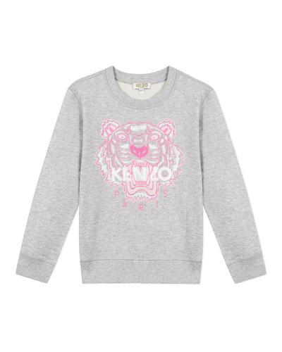 Girl's Embroidered Tiger Logo Sweatshirt, Size 2-6