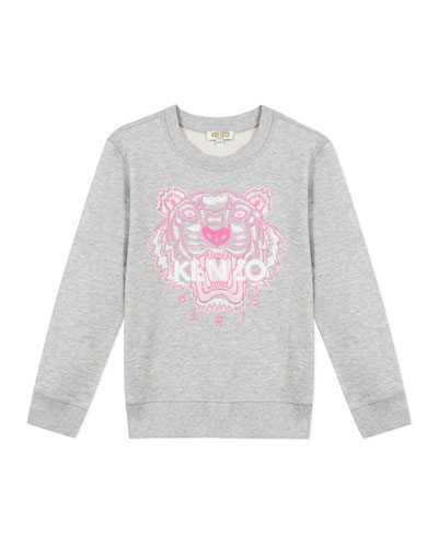 Girl's Embroidered Tiger Logo Sweatshirt, Size 14