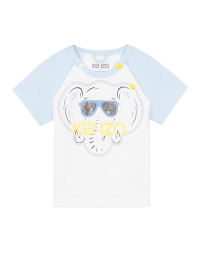 Boy's Elephant Logo Raglan T-Shirt, Size 3-18 Months