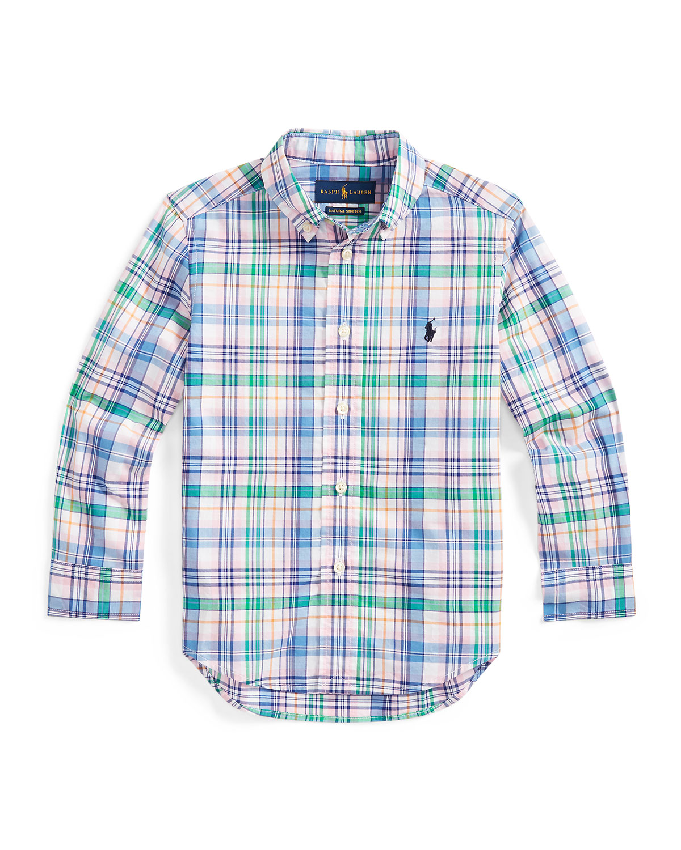 Ralph Lauren Childrenswear Tops BOY'S STRETCH POPLIN PLAID BUTTON-DOWN SHIRT