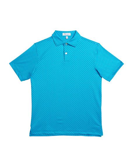 Peter Millar Girl's Pine-Print Polka Dot Jersey Polo Shirt, Size XXS-XL