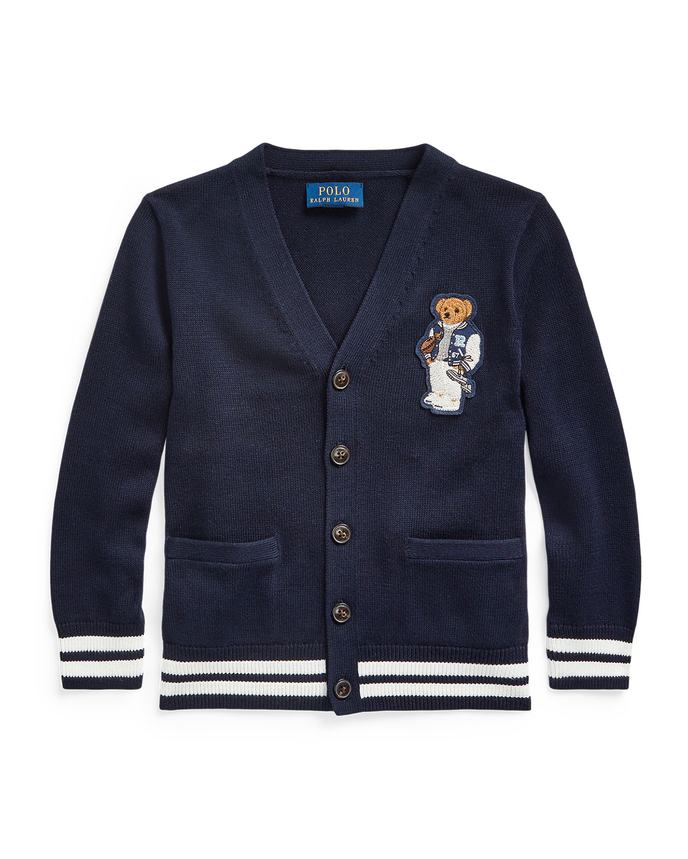 Ralph Lauren Childrenswear  BOY'S FOOTBALL BEAR PATCH SWEATER CARDIGAN