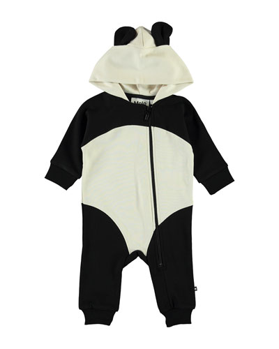 Kid's Flossie Hooded Panda Coverall w/ Ears, Size 3-24 Months