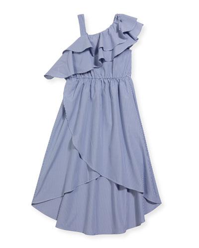 Girl's Striped Asymmetric High-Low Ruffle Dress, Size 7-14