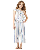 Habitual Girl's Asymmetrical Striped Ruffle Jumpsuit, Size 7-14