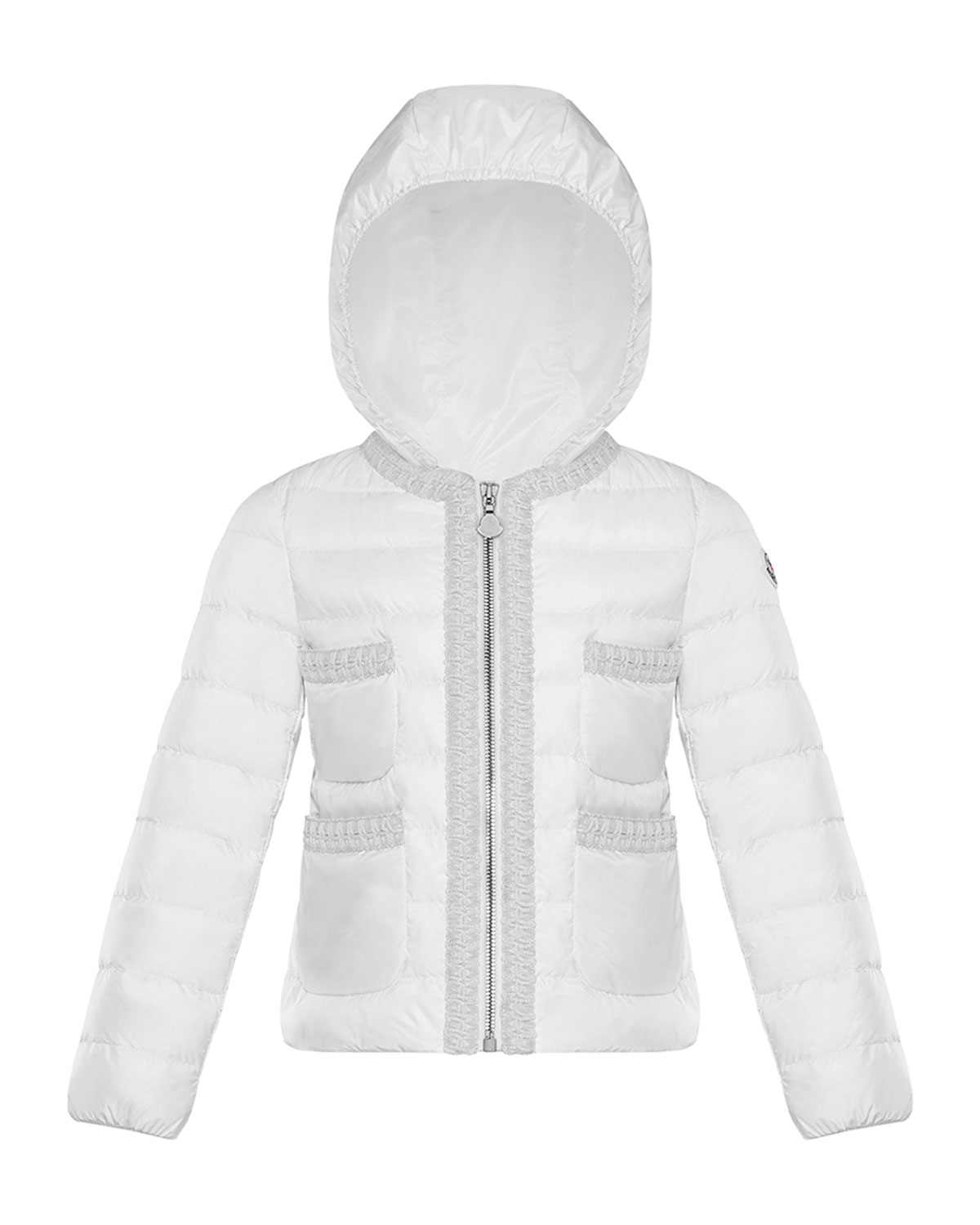 Moncler Kids' Girl's Citron Quilted Contrast Trim Jacket In White