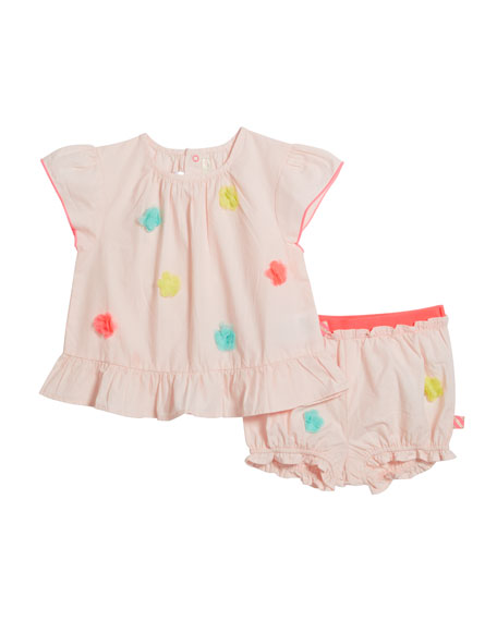 Billieblush Girl's Pompom Blouse w/ Matching Bloomers, Size 2-3