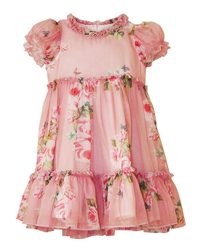 Girl's Floral Tiered Dress, Size 4-12