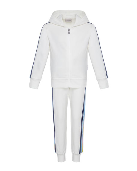 Moncler Girl's Logo Tape Hooded Zip-Front Track Jacket w/ Matching Joggers, Size 8-14