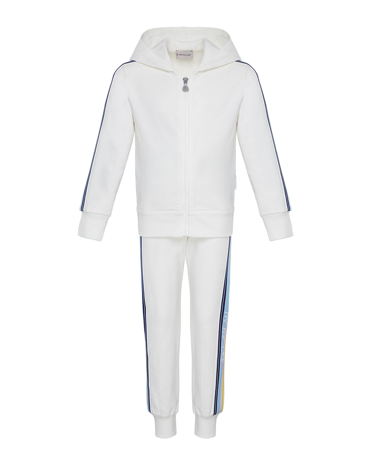 Moncler Kids' Girl's Logo Tape Hooded Zip-front Track Jacket W/ Matching Joggers In White
