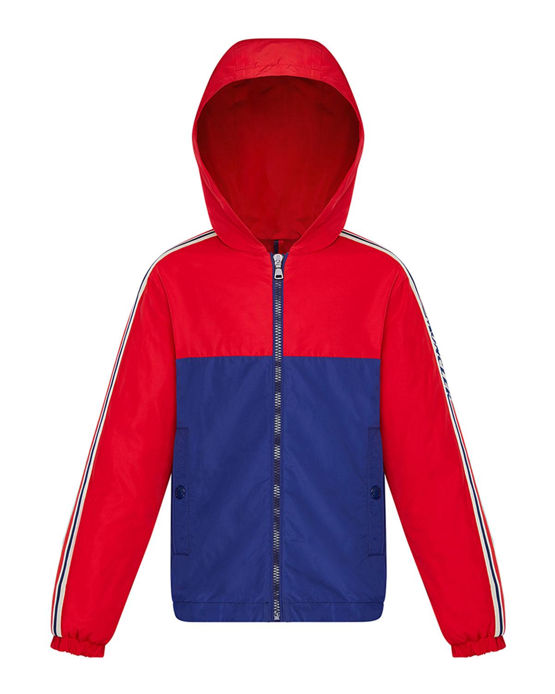 Moncler Kids' Boy's Gittaz Two-tone Logo Tape Jacket In Red