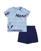 Moncler Boy's Logo Graphic Tee w/ Solid Shorts,