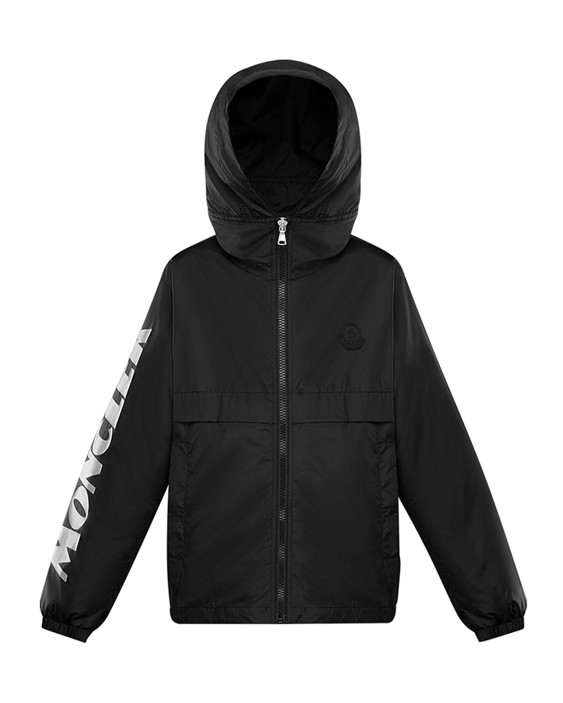 Moncler Kids' Boy's Saxophone Logo Print Rain Jacket In Black