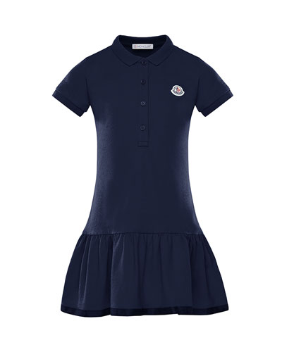 Girl's Piquet Stretch Polo Dress, Size 4-6