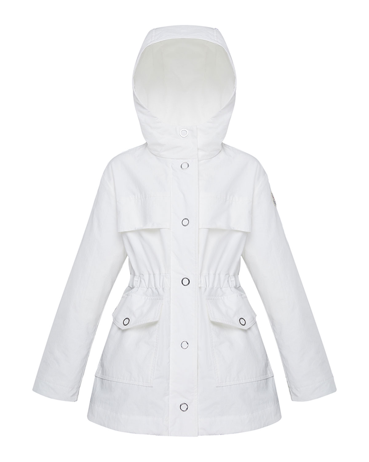Moncler Kids' Girl's Technique Short Snap Front Parka In White