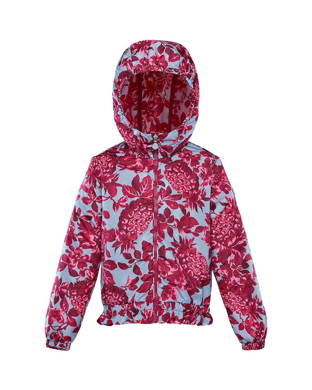 Moncler Kids' Girl's Pineapple Print Technique Jacket In Blue