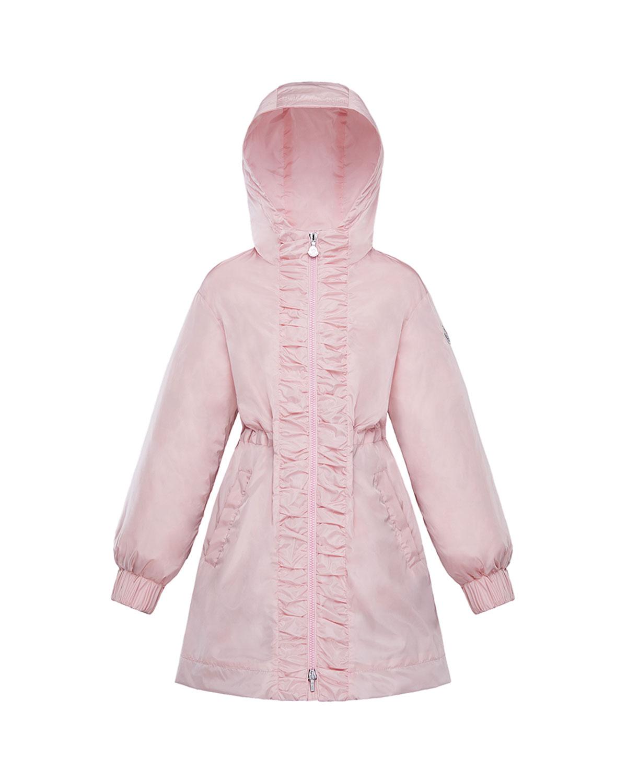 Moncler Kids' Girl's Lika Ruched Trim Long Coat In Pink
